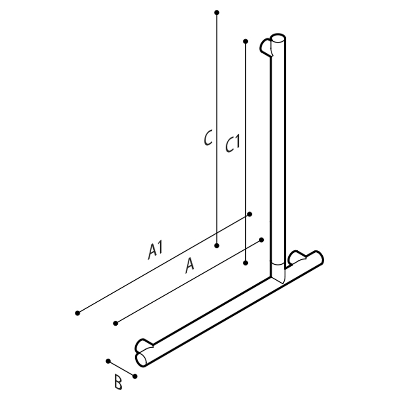 Draw Flangeless safety corner grab rail 90° Technical Drawing G18UBL34