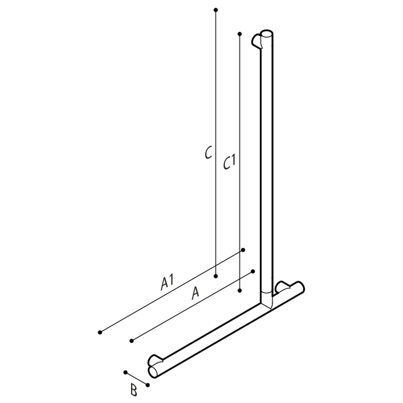 Draw Flangeless safety corner grab rail 90° Technical Drawing G18UBL35