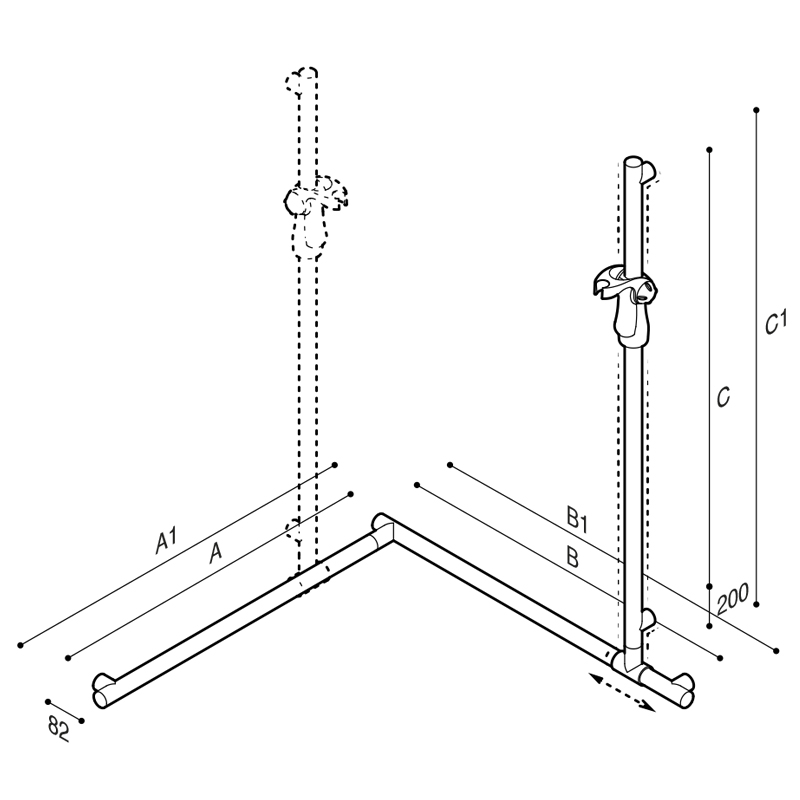 Draw Flangeless safety corner grab rail with adjustable vertical slider rail Technical Drawing G18UES30