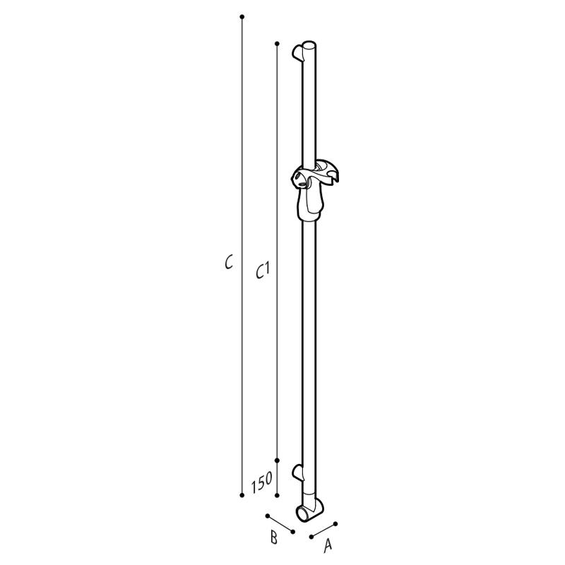 Draw Vertical adjustable slider grab railincluding the showerhead holder Technical Drawing G18UWS31