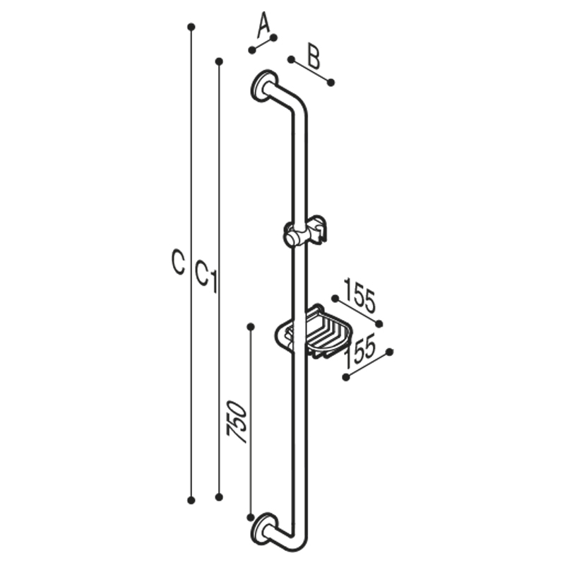 Disegno Maniglione di sicurezza verticale con attacco porta doccetta e griglia porta spugna-sapone Disegno Tecnico G20JOR08
