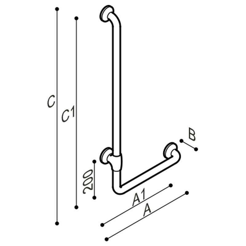 Draw Safety corner grab rail 90° Technical Drawing G27JBL19