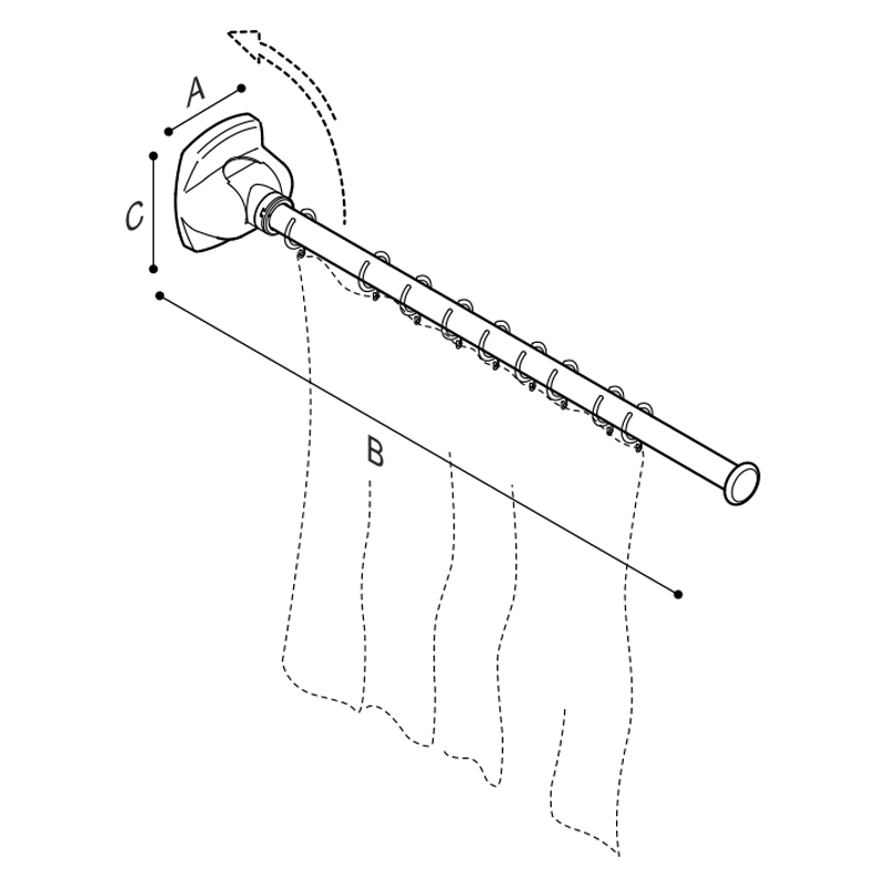 Draw Folding shower splash guard, with removable rod Technical Drawing G27JCS48