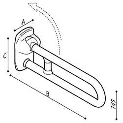 Draw Safety folding grab bar reinforced with a joint Technical Drawing G27JCS54