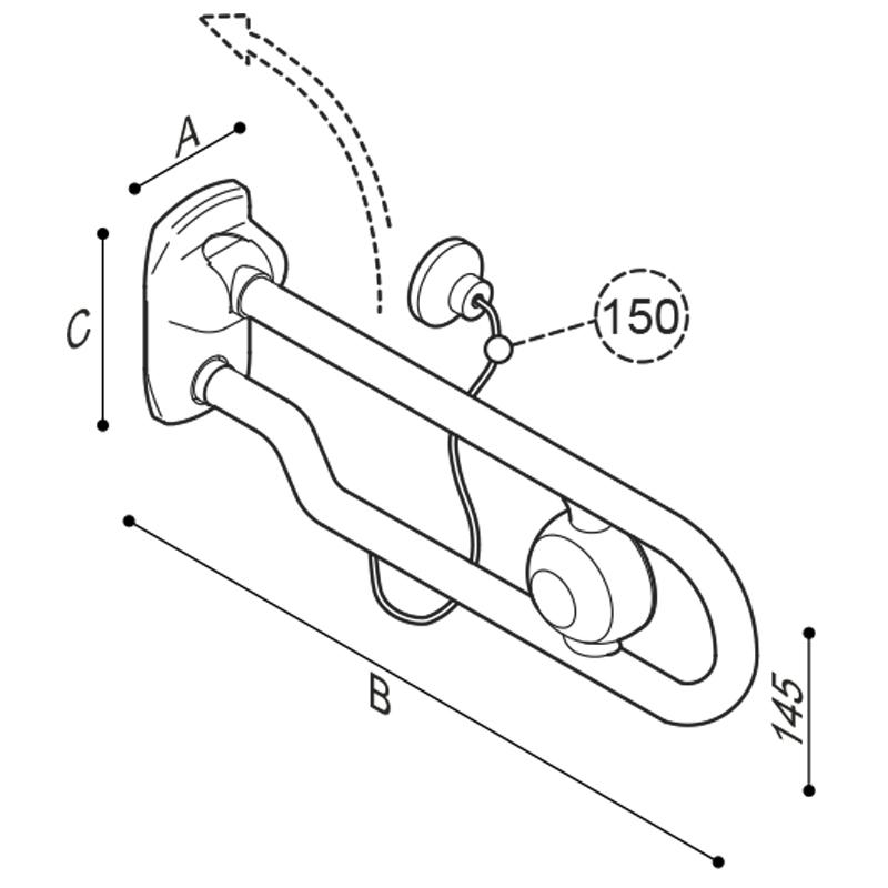 Disegno Impugnatura di sostegno ribaltabile, con comando di scarico pneumatico Disegno Tecnico G27JCS74