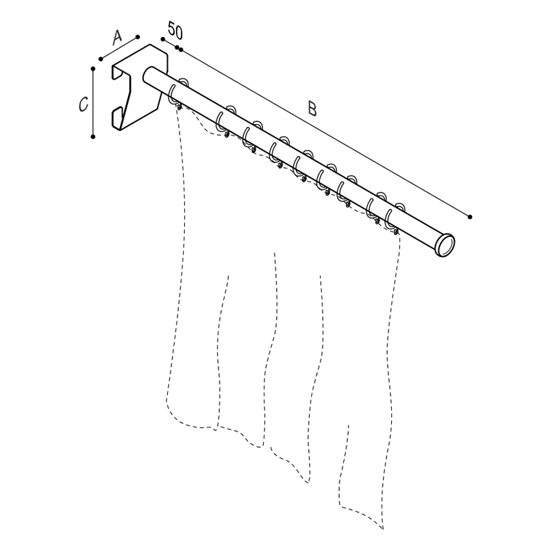 Draw Removable shower splash guard rod Technical Drawing G27JCS80