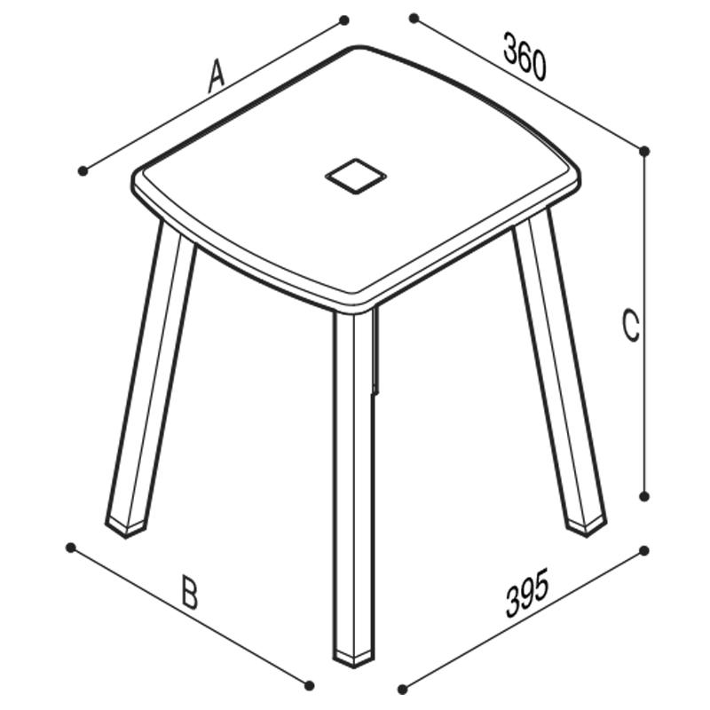 Disegno Sgabello con seduta in ABS Disegno Tecnico G27JDS30