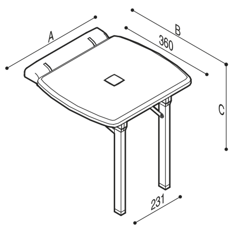 Draw Fold down shower seat with extra support folding legs Technical Drawing G27JDS44