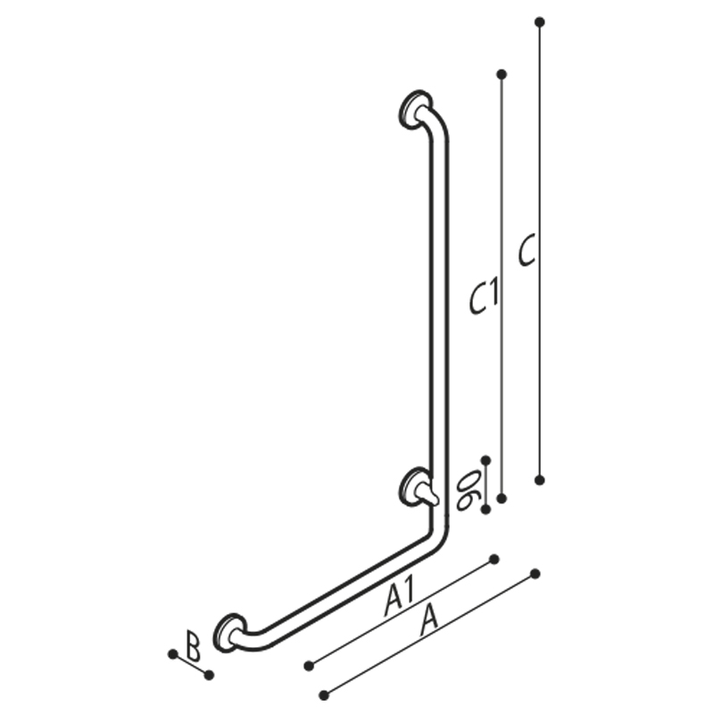 Draw Safety grab rail with 90° corner Technical Drawing G29JBR20
