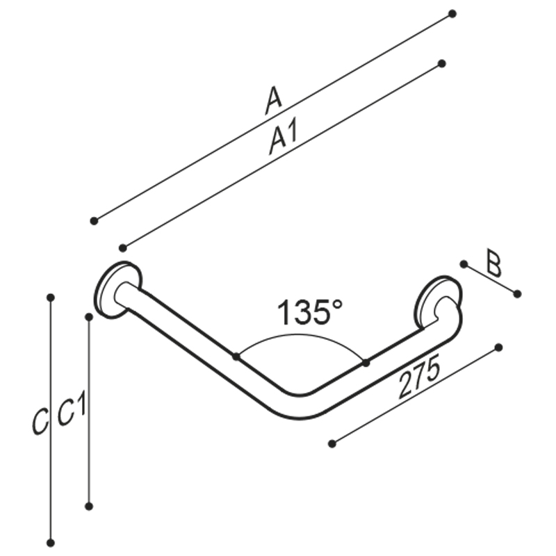 Draw Safety corner grab bar 135° Technical Drawing G40JAL20
