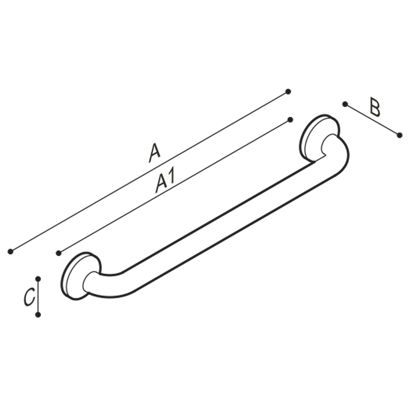 Draw Straight safety grab bar Technical Drawing G40JAS01