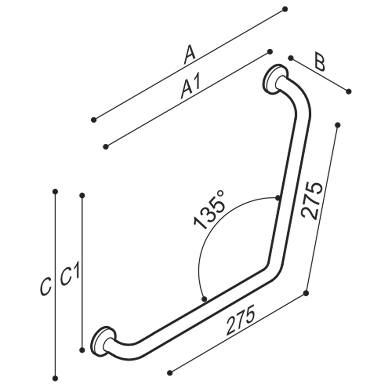 Draw 135° angled grab bar Technical Drawing G40JAS08