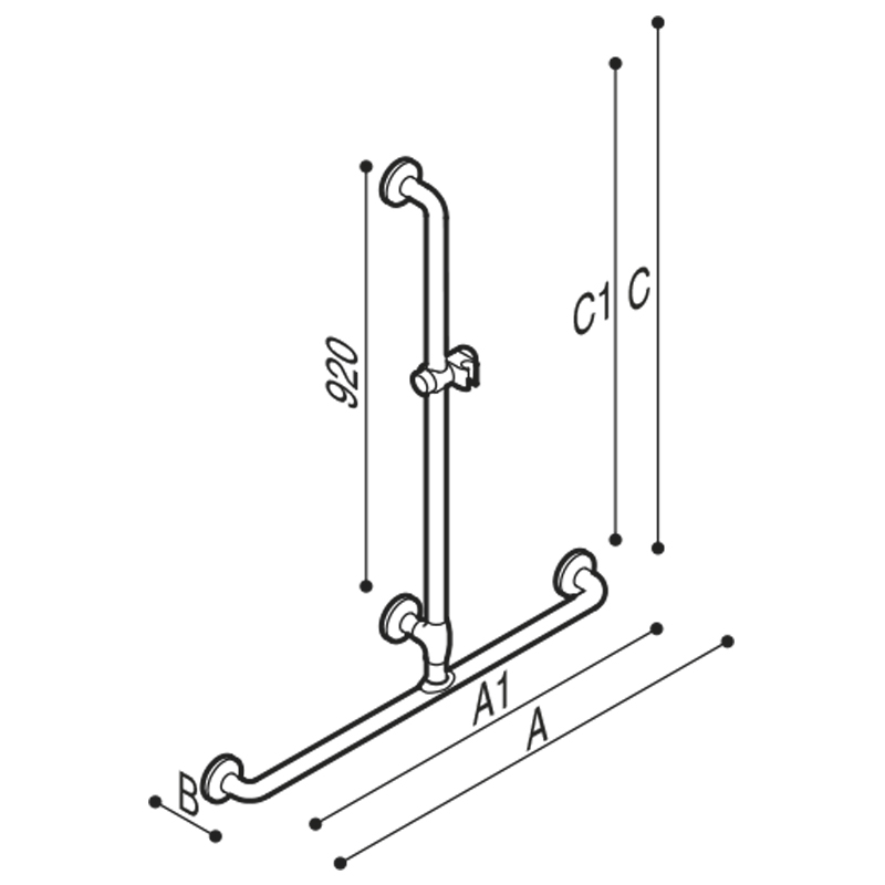 Draw T-shaped safety grab rail Technical Drawing G40JBS16