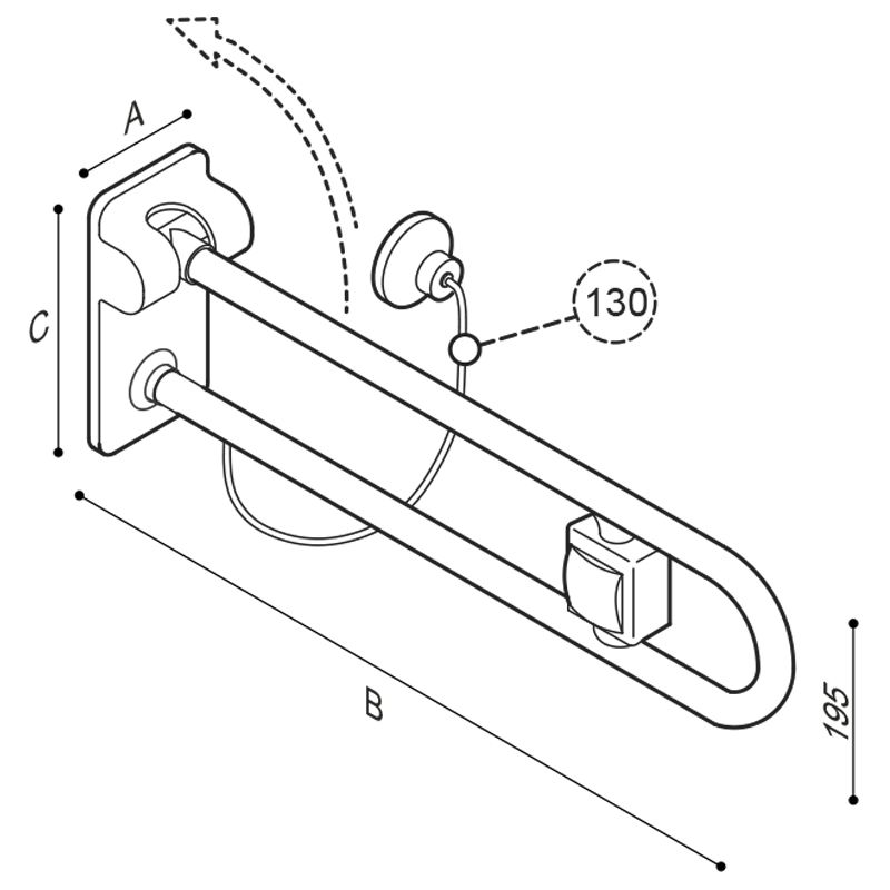 Draw Safety folding grab bar with pneumatic system Technical Drawing G40JCS50