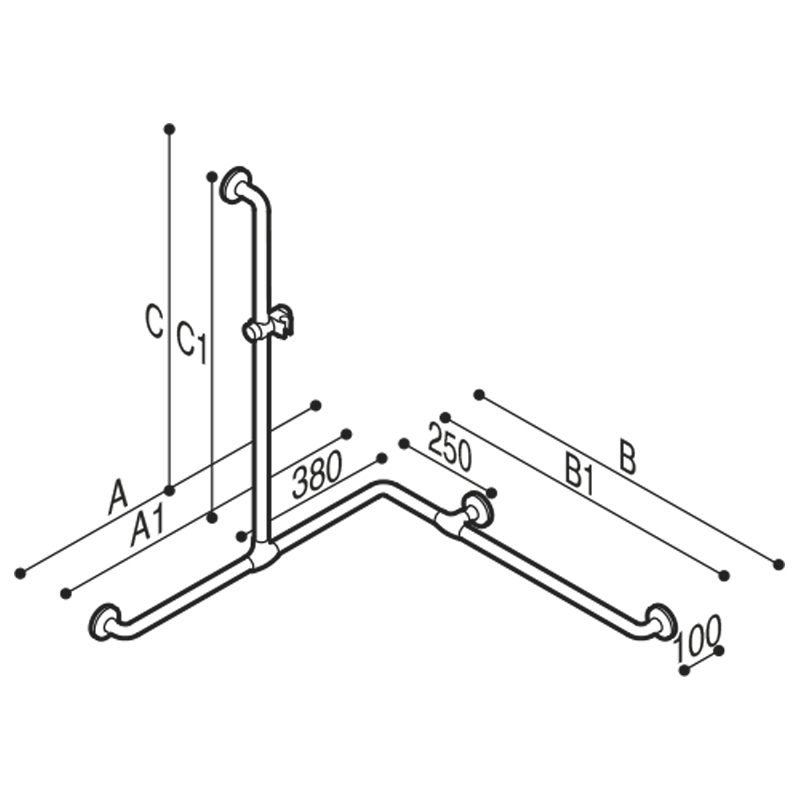 Draw Safety handrail for corner with vertical arm Technical Drawing G40JOS04