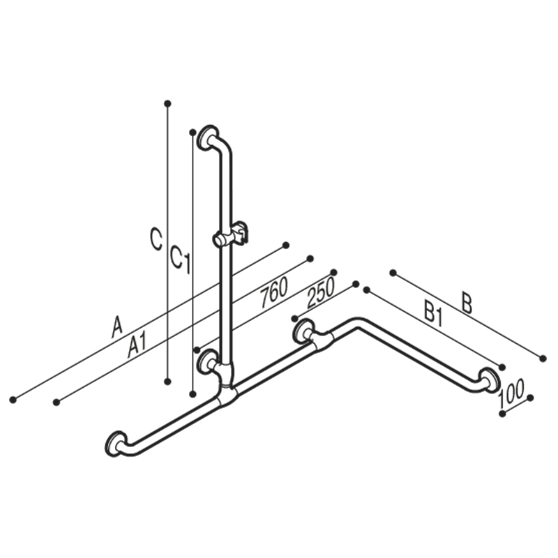 Draw Safety handrail for corner with vertical arm Technical Drawing G40JOS05