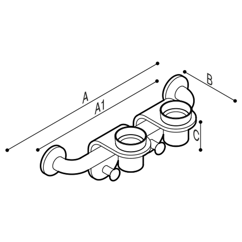 Draw Bar with cup holder modules equipped with robe hooks. Technical Drawing G44JES02