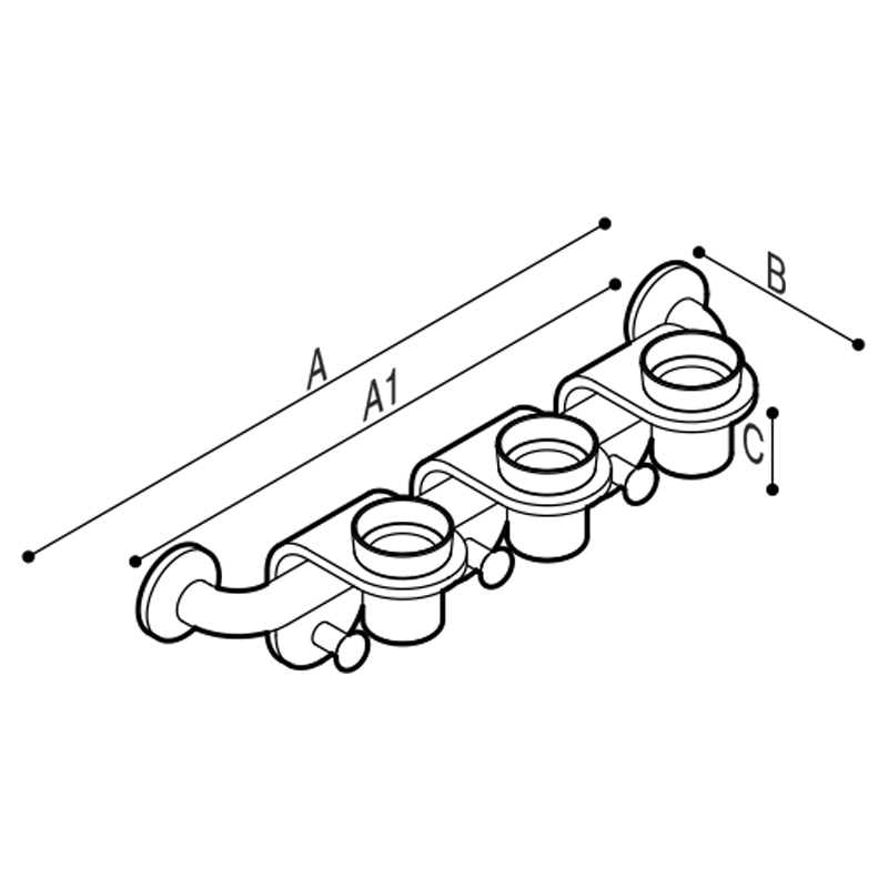Draw Bar with cup holder modules equipped with robe hooks. Technical Drawing G44JES03