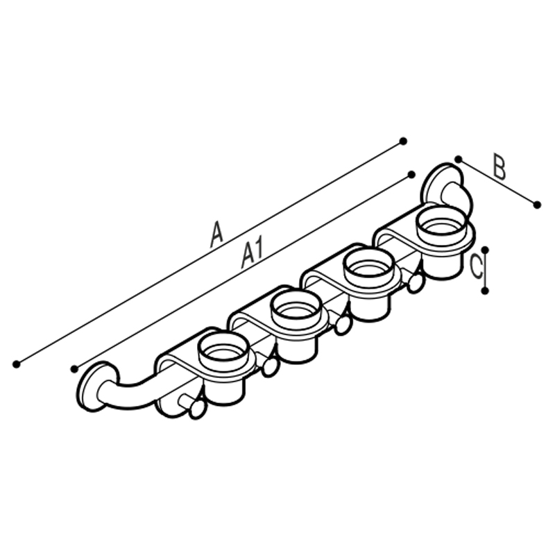 Draw Bar with cup holder modules equipped with robe hooks. Technical Drawing G44JES04