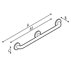 Draw Safety grab bar, vertical, wall to wall Technical Drawing G55JAS11