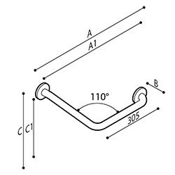 Disegno Maniglione di sicurezza ad angolo 110° Disegno Tecnico G55JAS15