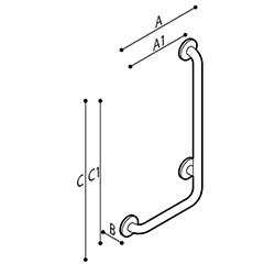 Draw Safety grab bar, corner, 90° Technical Drawing G55JBR19