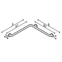 Draw Safety grab bar, corner Technical Drawing G55JBS03