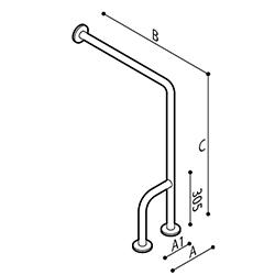 Disegno Sostegno di sicurezza da parete a pavimento 90° Disegno Tecnico G55JCR38