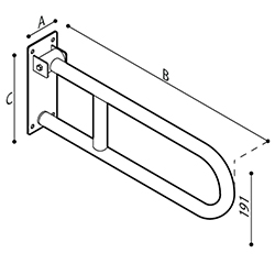 Draw Safety grab bar, folding Technical Drawing G55JCS12