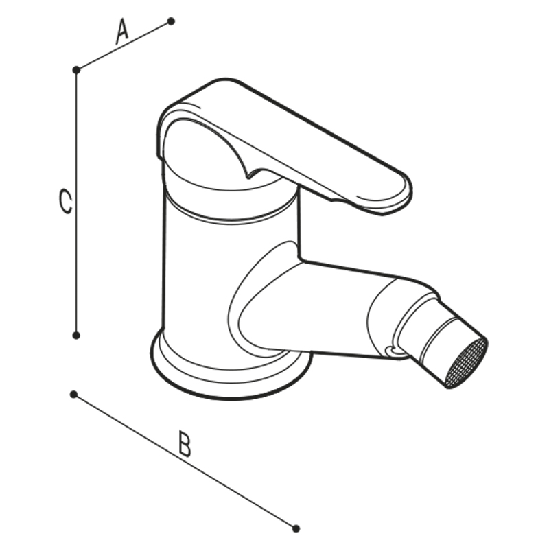 Draw Single-lever mixer for bidet, multi-colour Technical Drawing H50GBS22