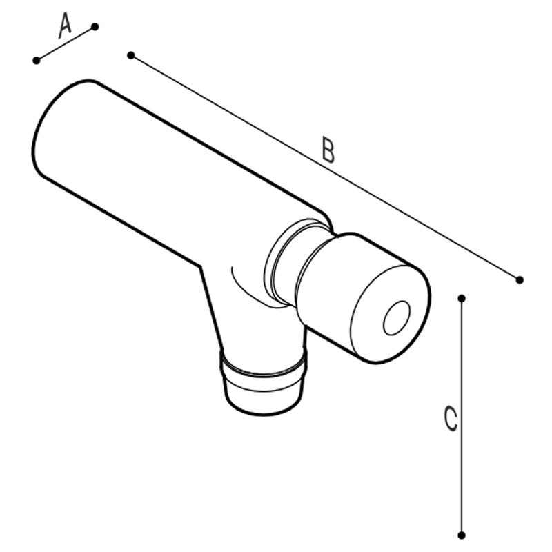 Disegno Rubinetto a pulsante da parete Disegno Tecnico H51GCS05