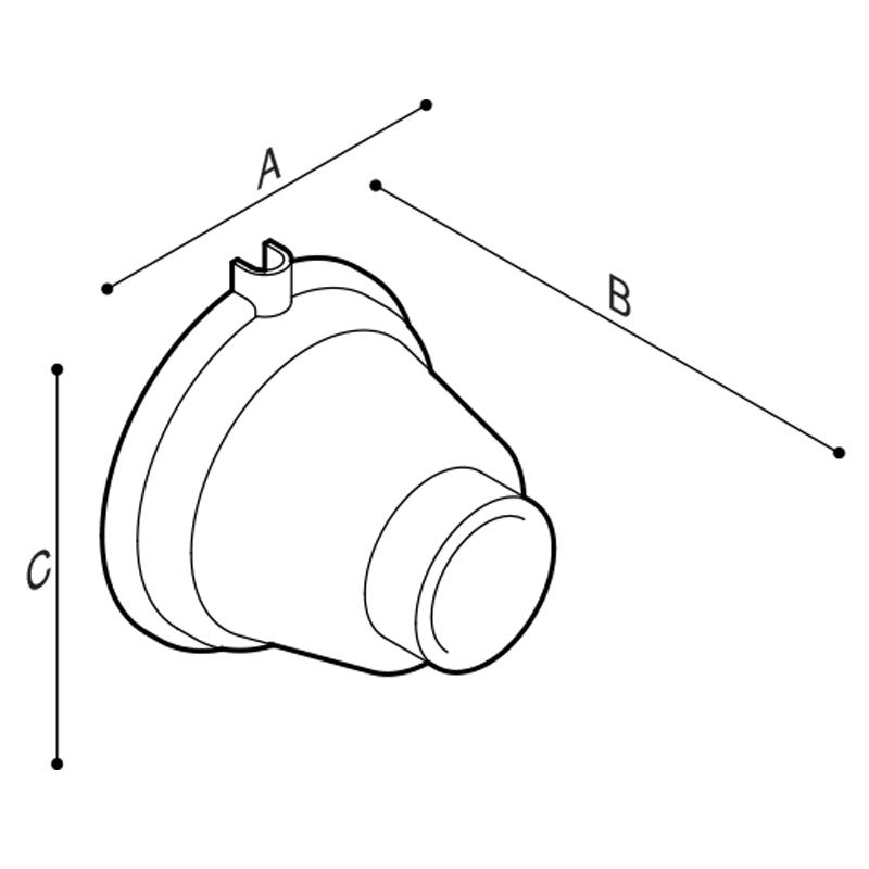 Disegno Pulsante a parete esterno, libera posizione, comando facilitato Disegno Tecnico H52HGS07