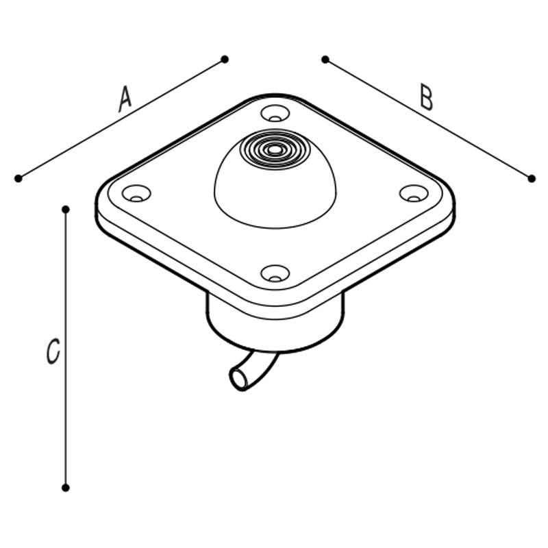 Disegno Pulsante a pedale per incasso a pavimento Disegno Tecnico H52HGS12