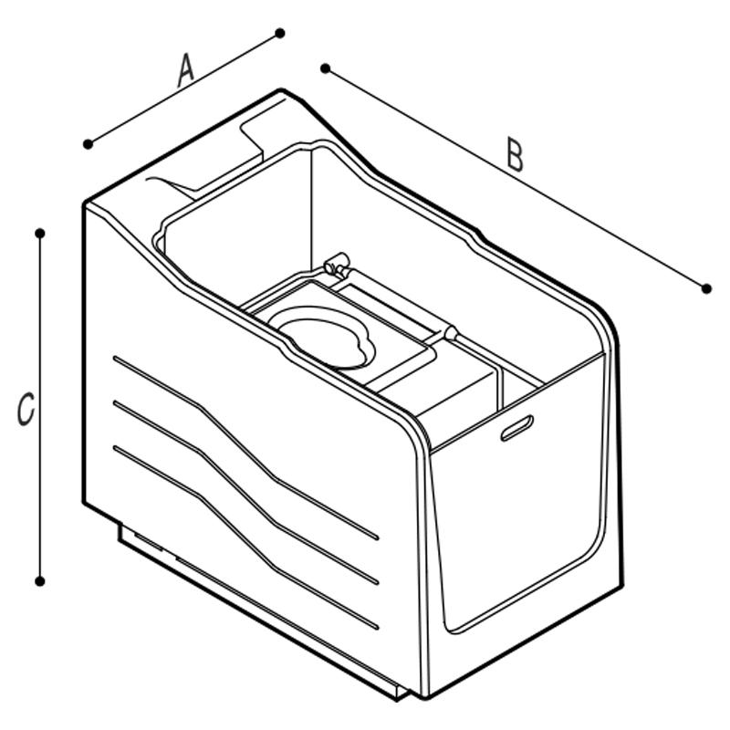 Disegno Cabina doccia senza wc e senza quadro di comando incorporato Disegno Tecnico M74MCS02