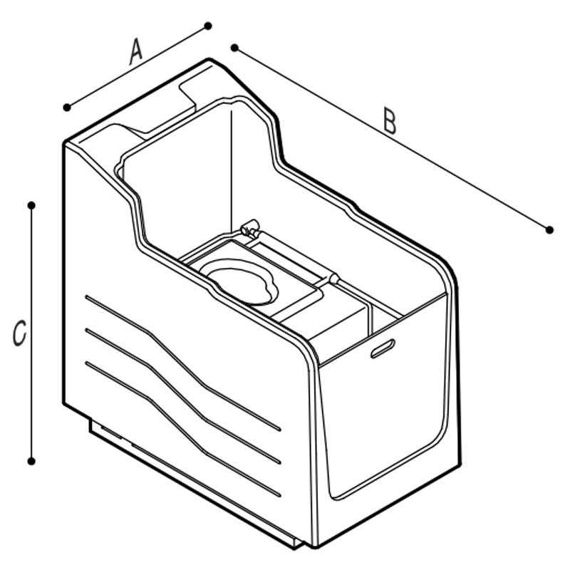 Disegno Cabina doccia ispezionabile con wc e senza quadro di comando incorporato Disegno Tecnico M74MCS05
