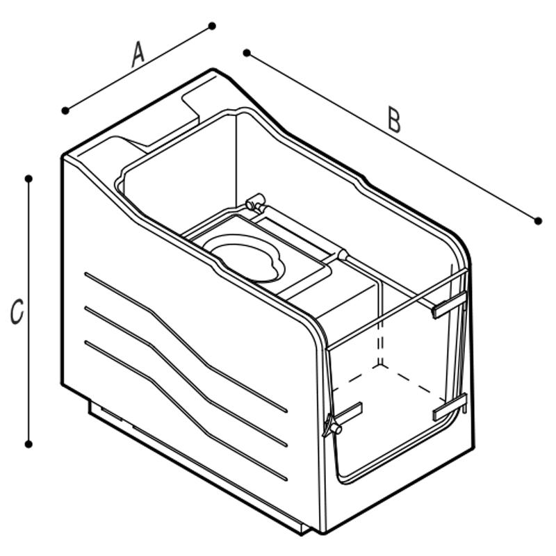 Disegno Vasca doccia a chiusura stagna integrata da vaso WC Disegno Tecnico M74MDS05