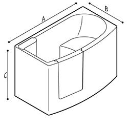 Disegno Vasca per incasso con porta ad apertura verso l