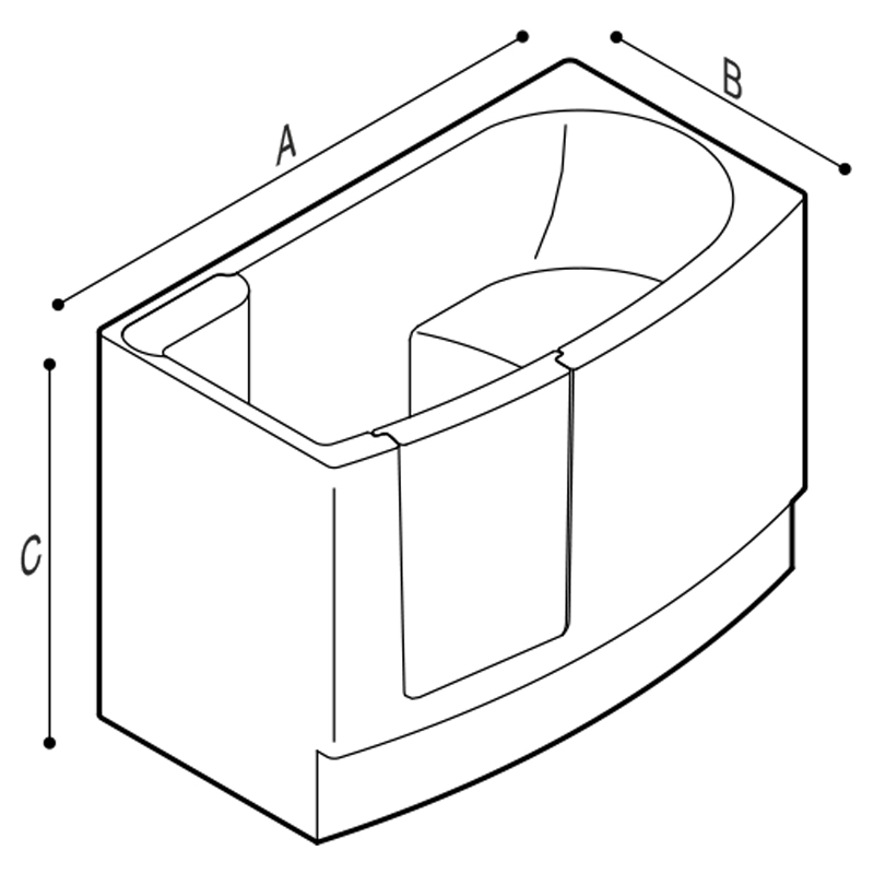 Draw Walk-in bathtub with internal opening door Technical Drawing M74MDS21