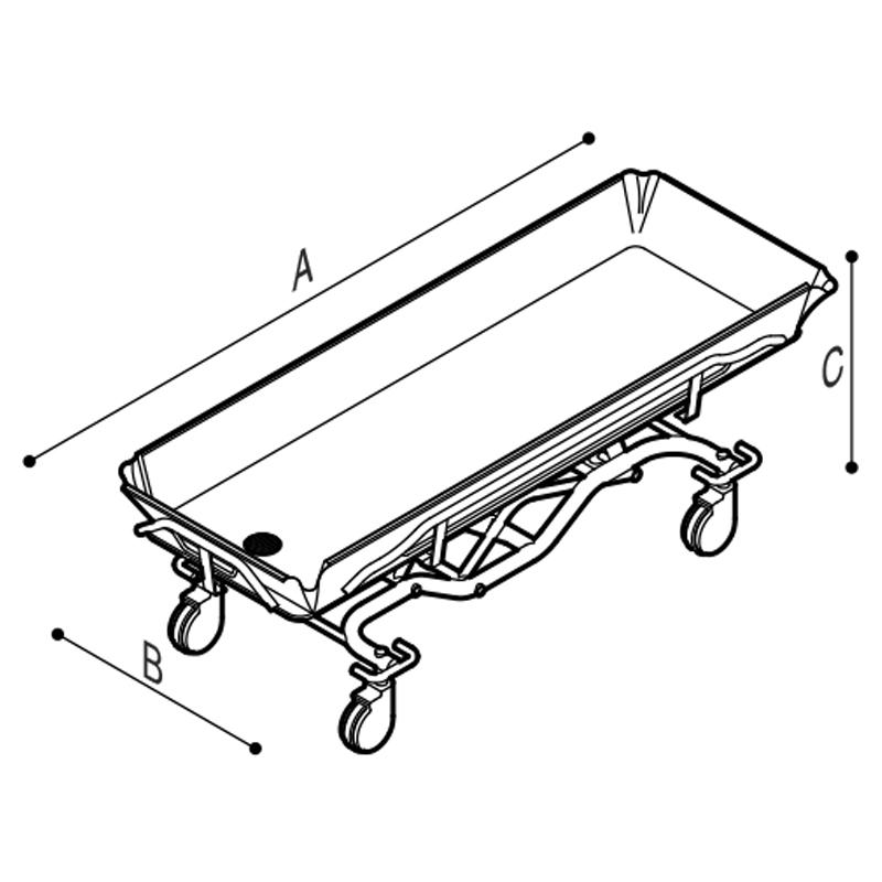 Disegno Barella doccia ad altezza ed inclinazione variabili elettricamente Disegno Tecnico M75NAE01