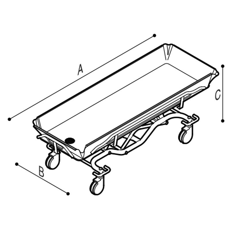 Disegno Barella doccia ad altezza ed inclinazione variabili idraulicamente Disegno Tecnico M75NAH02
